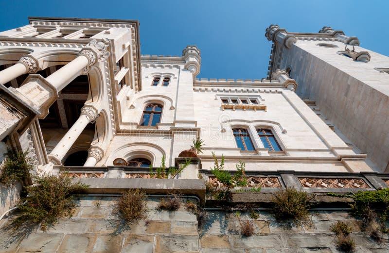 Detalles de la arquitectura del castillo de Miramare imágenes de archivo libres de regalías