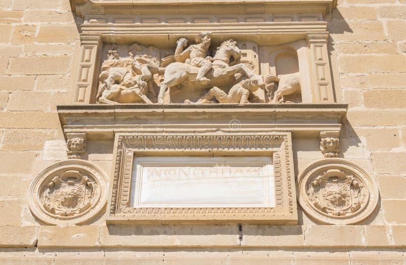 Detalles de la fachada de theHospital Santiago, Úbeda, Jaén, S imagen de archivo