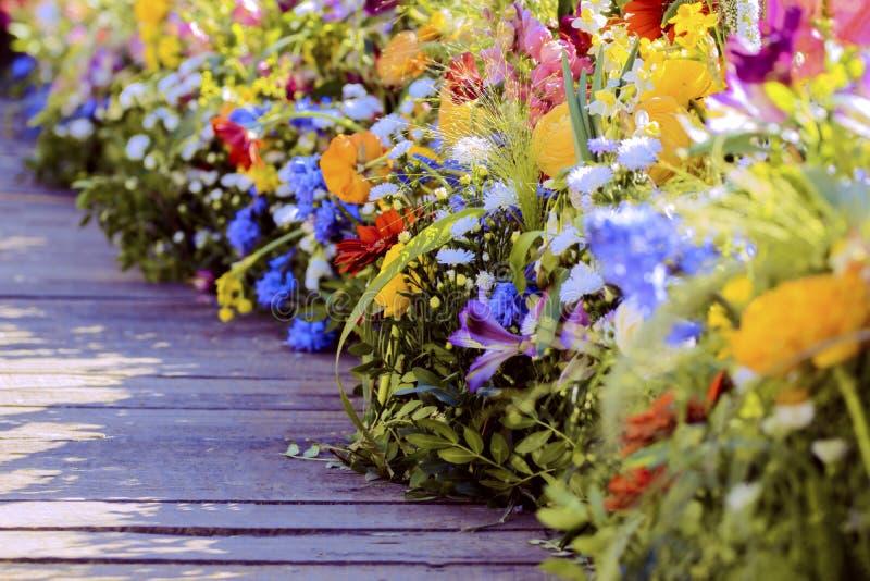 Detalles de los centros de flores del festival de Timfloralis, en el cuadrado de Timisoara Unirii fotos de archivo libres de regalías