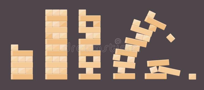 Detalles de madera de los ladrillos de los juegos de la torre para los niños stock de ilustración