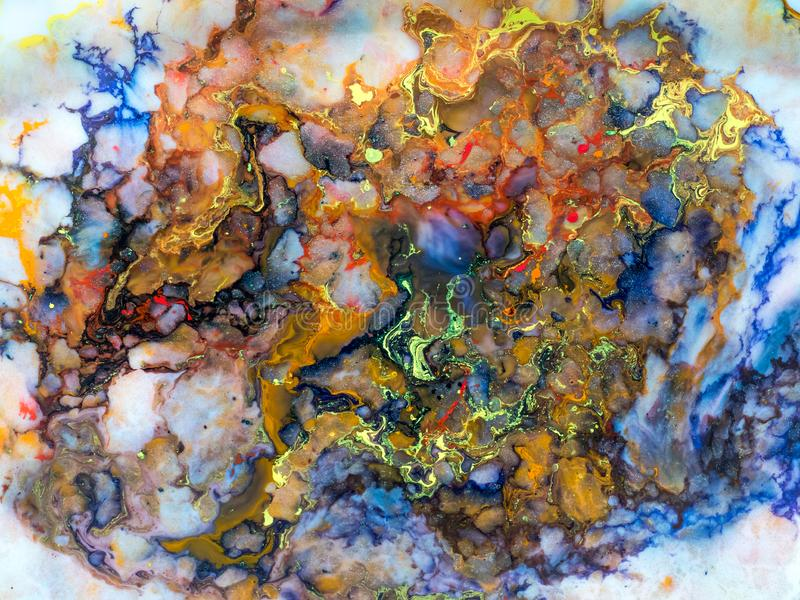 Detalles de pintura modernos de acr?lico con contraste vibrante fotografía de archivo