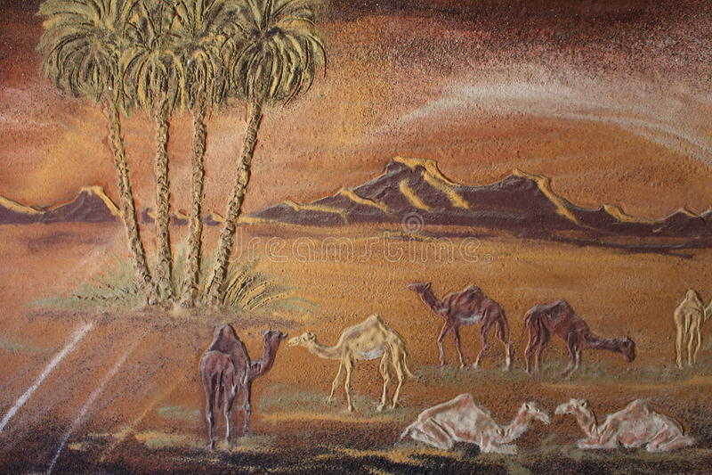 Detalles de pinturas en el museo de Badr poseído por el artista egipcio local, Badr Abdel-Moghni Ali, oasis de Farafra, Egipto fotografía de archivo