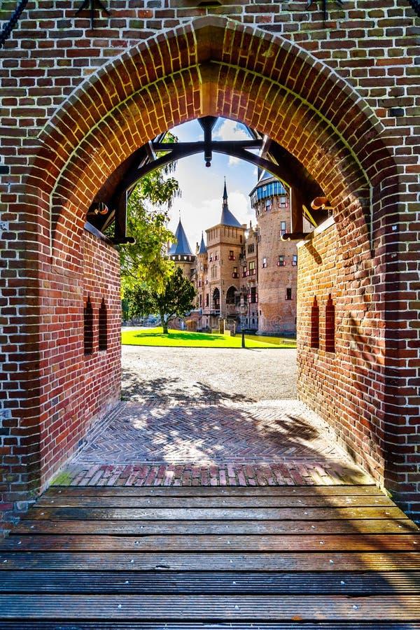 Detalles de puertas en Castle De Haar, una reconstrucción del siglo XIV del castillo en los fin del siglo XIX foto de archivo libre de regalías