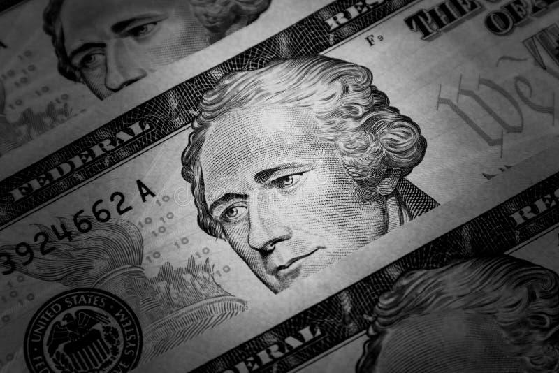 Detalles de un billete de diez dólares Alexander Hamilton Detalle por monedas de los Estados Unidos de América foto de archivo