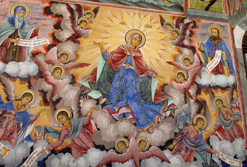 Detalles de un fresco y de una pintura ortodoxa del icono en iglesia del monasterio de Rila en Bulgaria imagenes de archivo