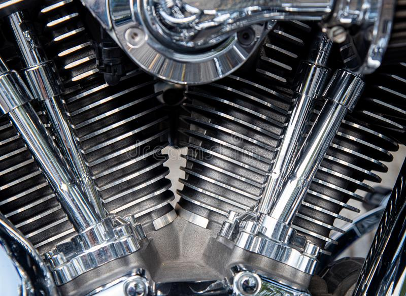 Detalles de un motor de metal cromado Harley Davidson fotografía de archivo