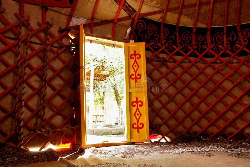 Detalles del interior de Yurt foto de archivo