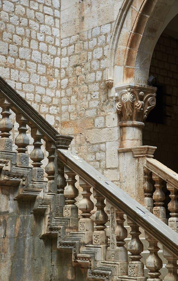 Detalles del palacio del ` s del rector, Dubrovnik fotografía de archivo