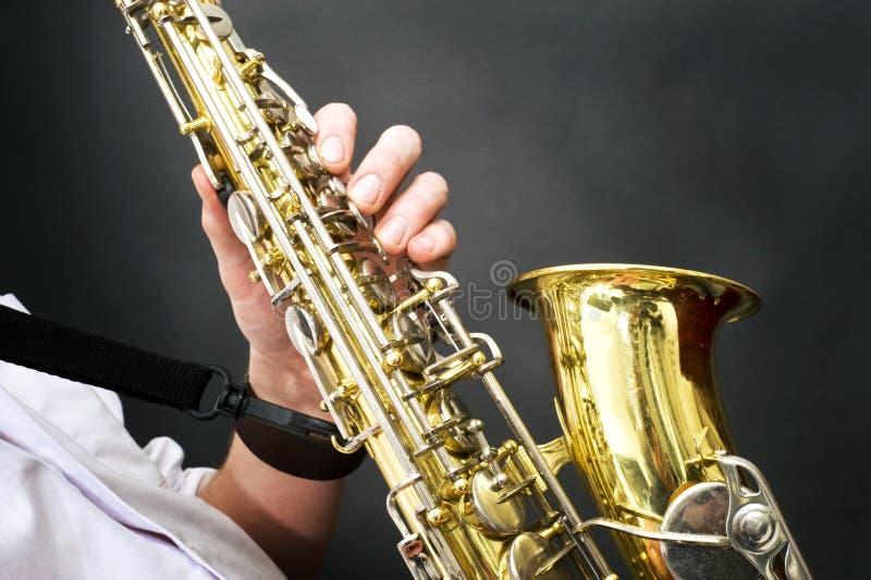 Detalles del saxofón imagen de archivo