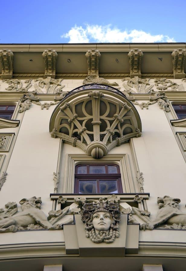 Detalles eclécticos de la fachada foto de archivo libre de regalías