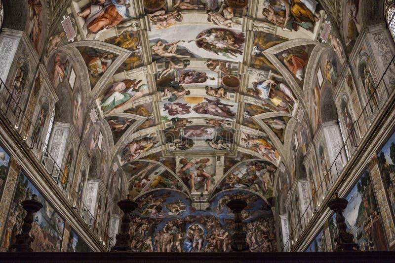 Detalles interiores y arquitectónicos de la capilla de Sistine foto de archivo