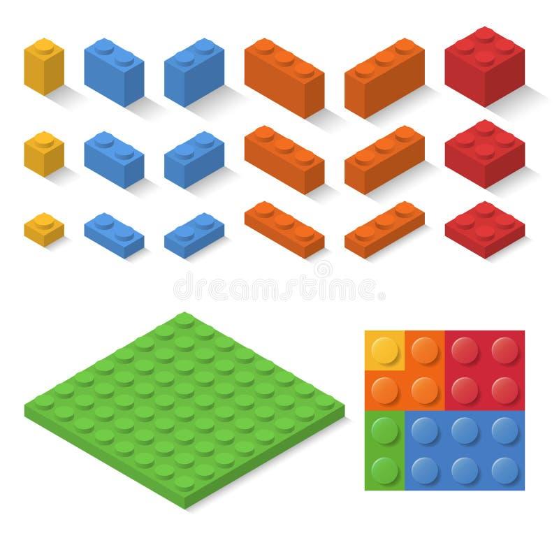 Detalles isométricos del juguete del constructor stock de ilustración