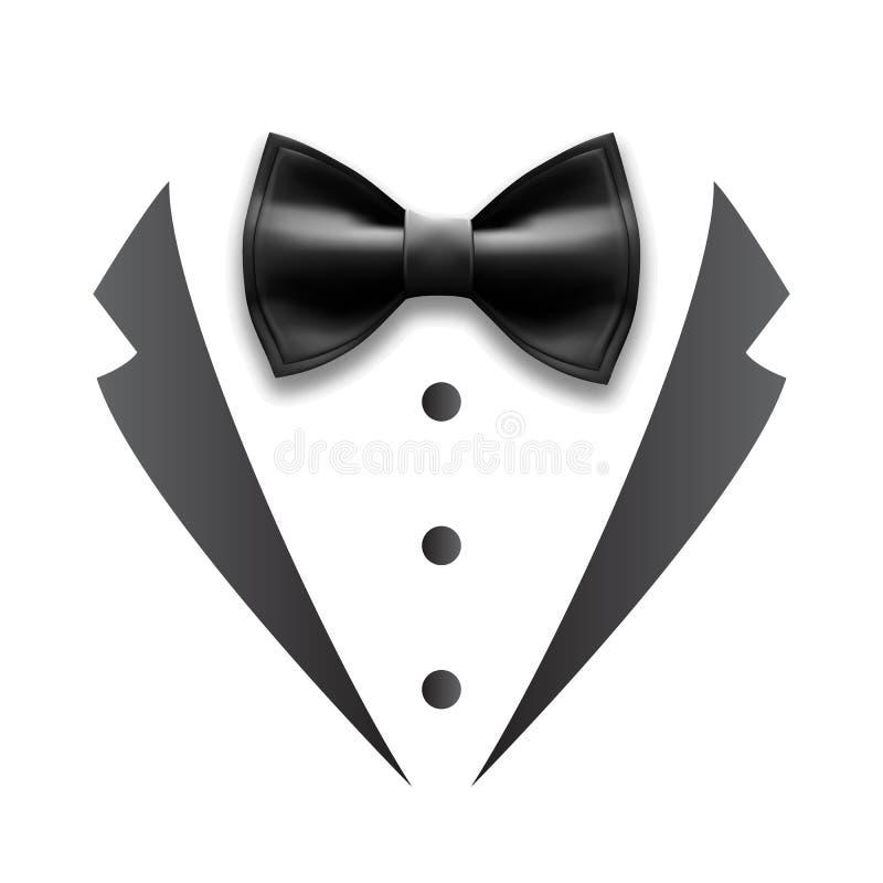 Detalles negros del vector del smoking del traje de la boda del hombre ilustración del vector