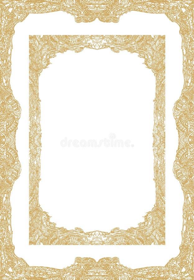 Detalles ornamentales del modelo del marco del oro, cosechados en formatos oblongos, verticales ilustración del vector