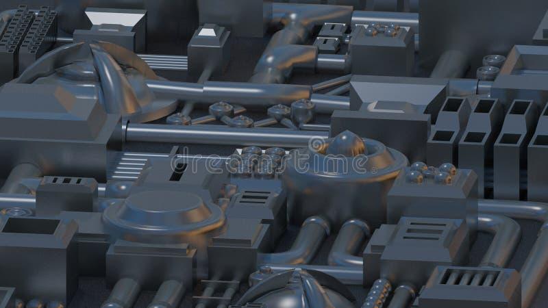 Detalles, piezas, tubos y alambres electrónicos 3D rinden textura stock de ilustración