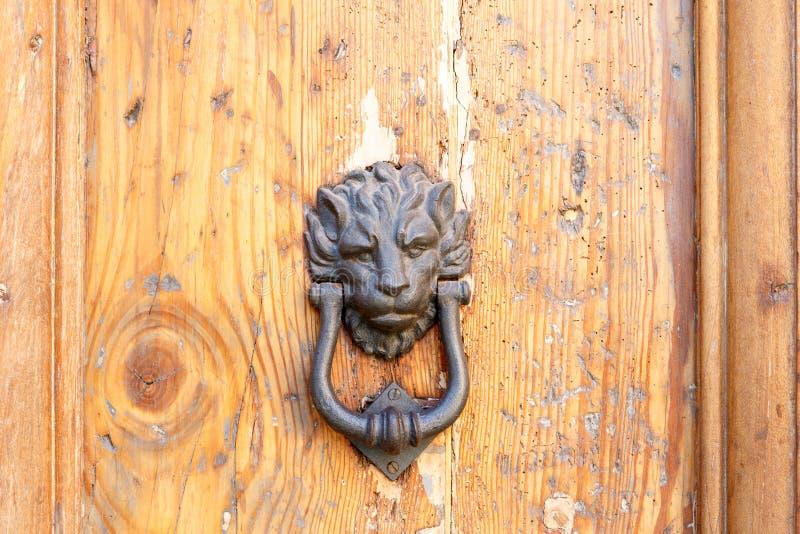 Detalles principales del golpeador de puerta del león fotografía de archivo