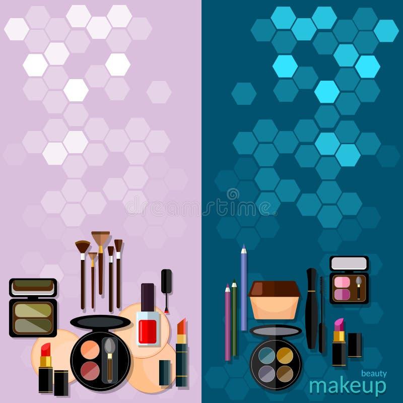 Detalles profesionales del maquillaje del concepto de la moda del maquillaje ilustración del vector