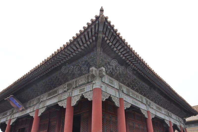 Detalles tallados de los aleros del palacio imperial en la ciudad Prohibida de Pek?n fotos de archivo libres de regalías