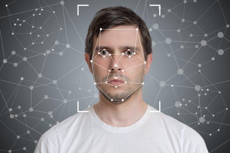 Detecção da cara e reconhecimento do homem Visão de computador e conceito da inteligência artificial fotos de stock