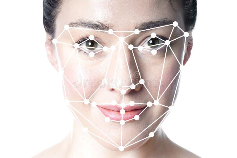 A detecção da cara ou a grade facial do reconhecimento cobrem na cara da mulher fotos de stock royalty free