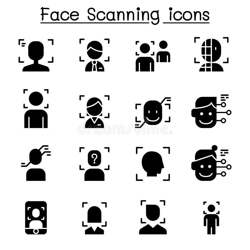Detecção da cara, reconhecimento e grupo de varredura do ícone ilustração royalty free