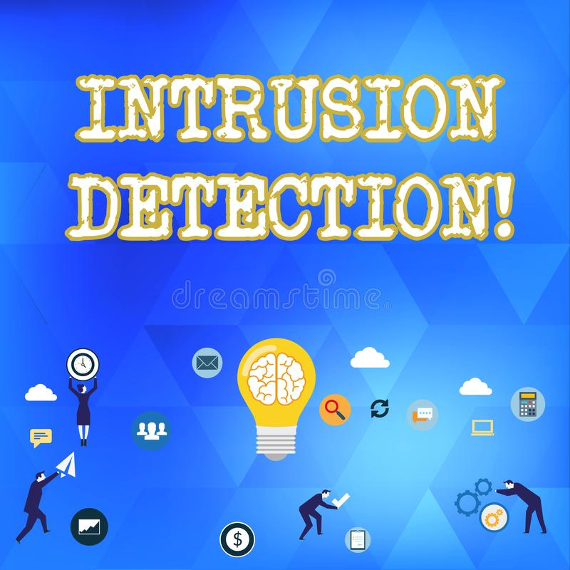 Detecção de intrusões do texto da escrita O significado do conceito monitora uma rede ou sistemas para o negócio malicioso da ati ilustração do vetor
