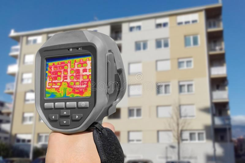 Detecting Heat Loss Outside building. Using Thermal Camera stock image