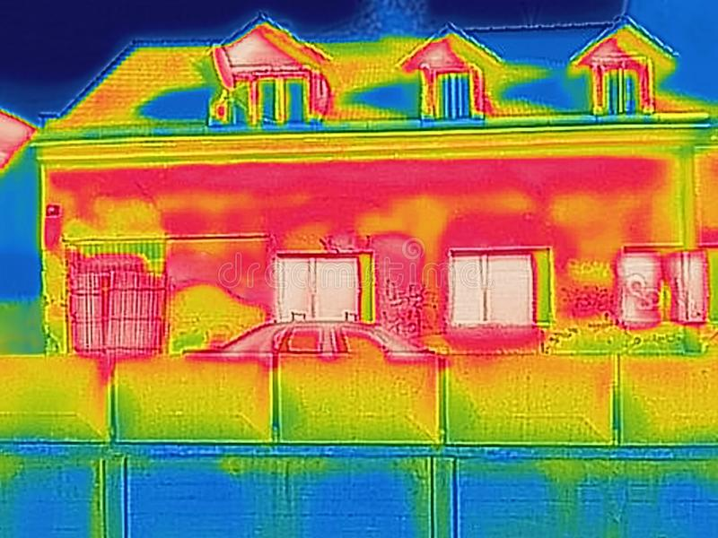 Detecting Heat Loss Outside building. Using Thermal Camera stock photos