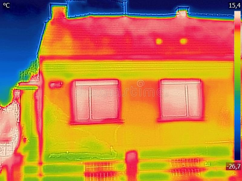 Detecting Heat Loss Outside building. Using Thermal Camera stock photo