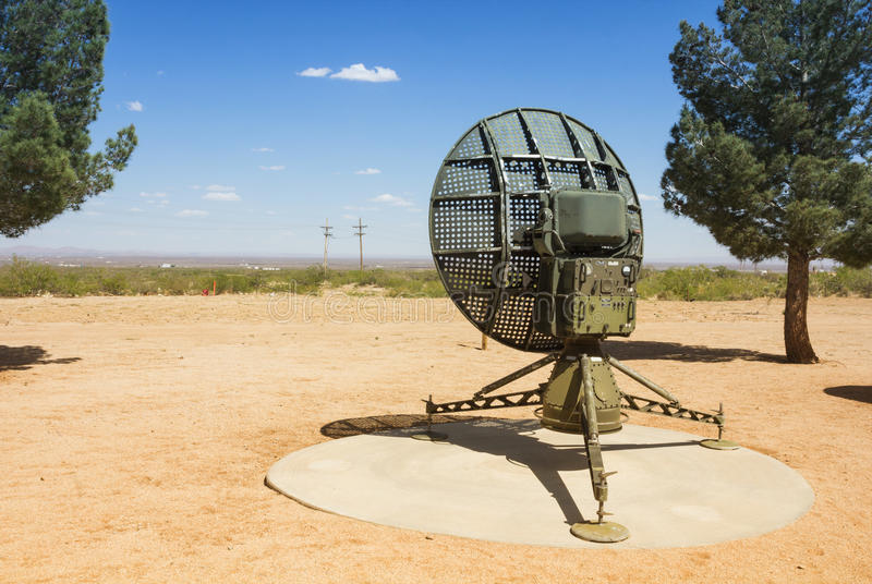 Detecting movement. Military radar used for detecting movement. Placed in the White Sands Missile Range Historical Foundation, America stock images