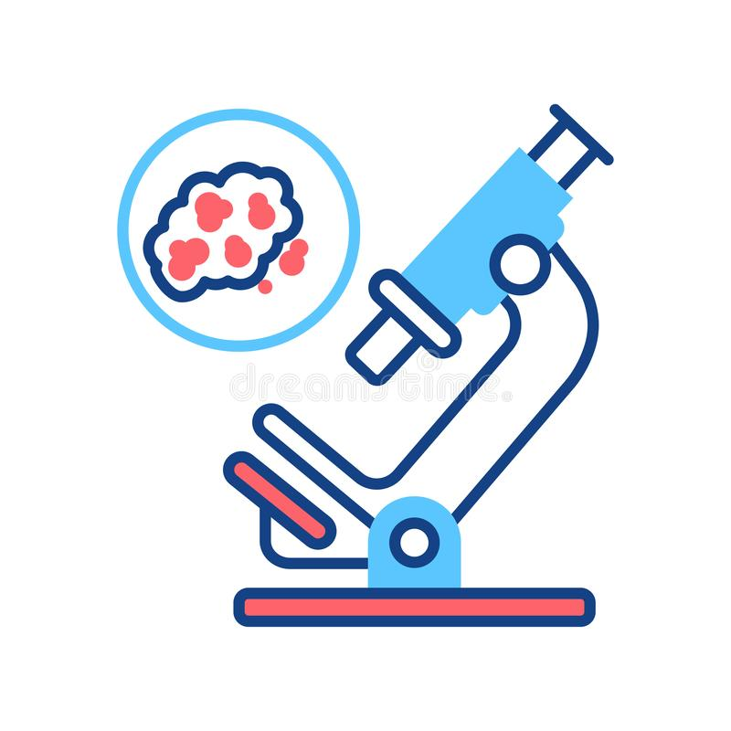 Detection of cancer cells by analysis line color icon. Oncology medical research concept. Sign for web page, mobile app, logo. Vector isolated element vector illustration