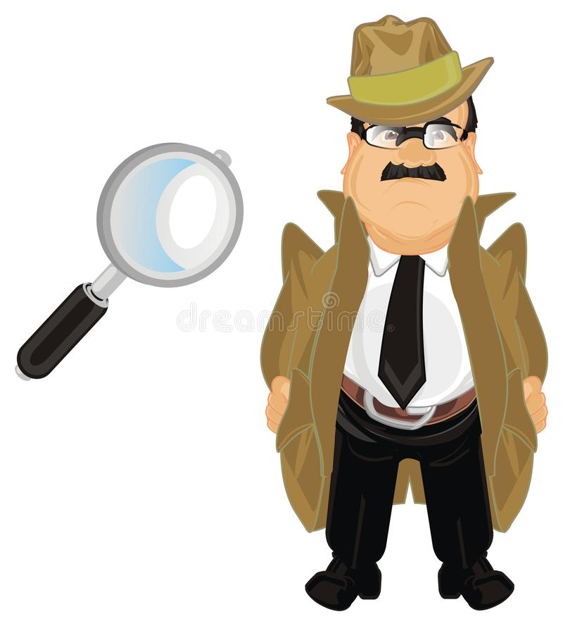 Detectiva nad förstoringsapparat stock illustrationer