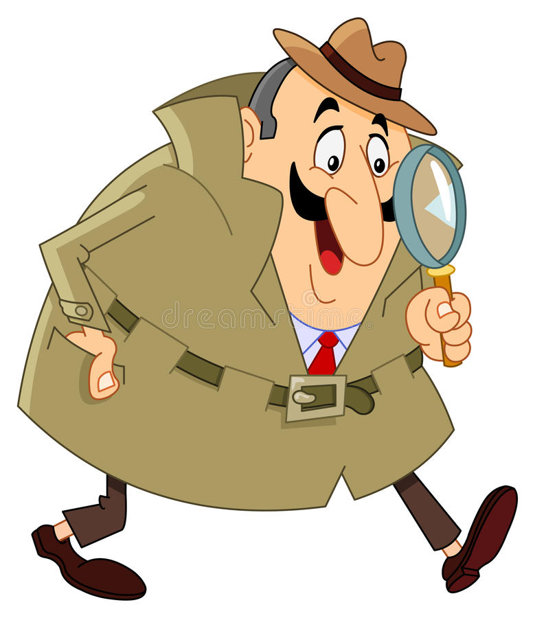 Detective. Cartoon detective holding his magnifying glass
