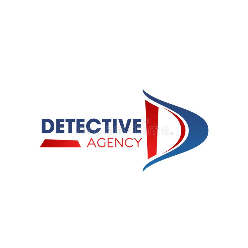 D letter vector icon for detective agency. Detective agency D letter icon for investigation and police private investigator service. Vector isolated letter D for stock illustration