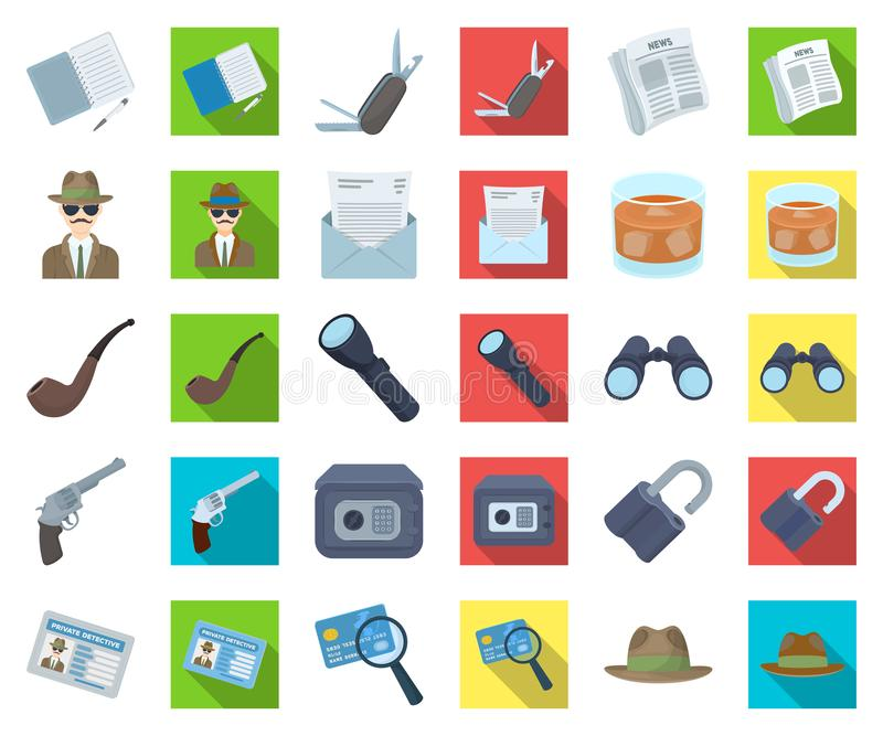 Detective and Attributes cartoon,flat icons in set collection for design.Detective Agency vector symbol stock web. Detective and Attributes cartoon,flat icons in royalty free illustration