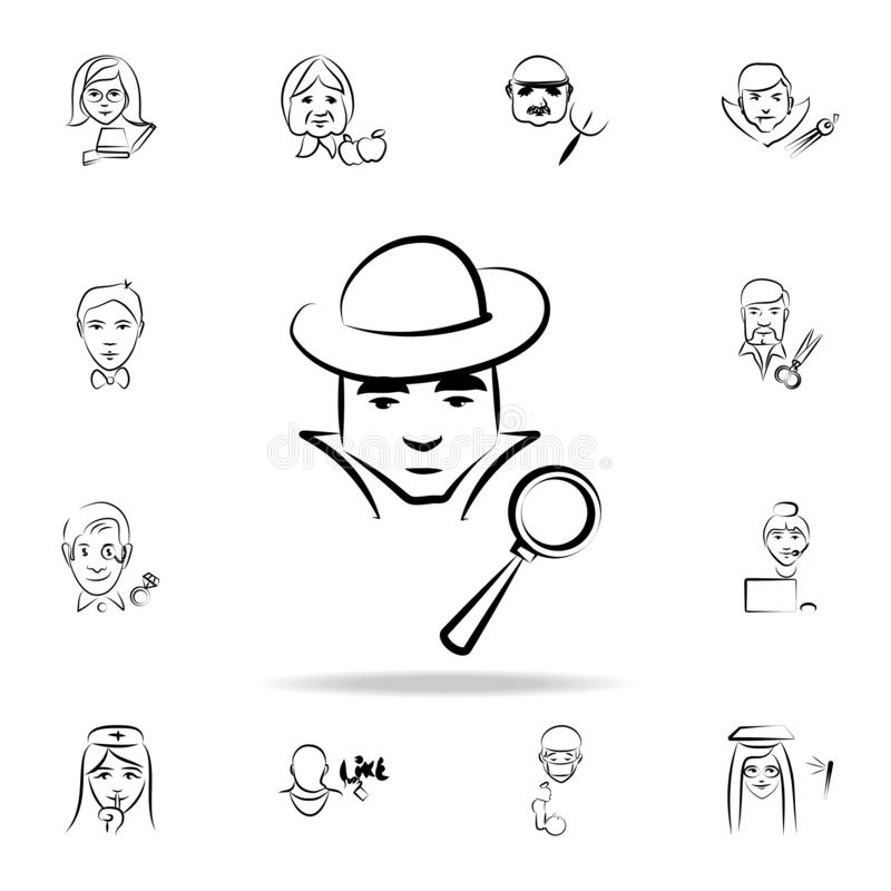 detective avatar sketch style icon. Detailed set of profession in sketch style icons. Premium graphic design. One of the vector illustration