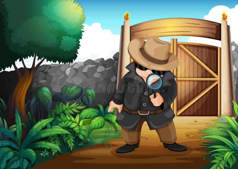A detective at the backyard. Illustration of a detective at the backyard vector illustration