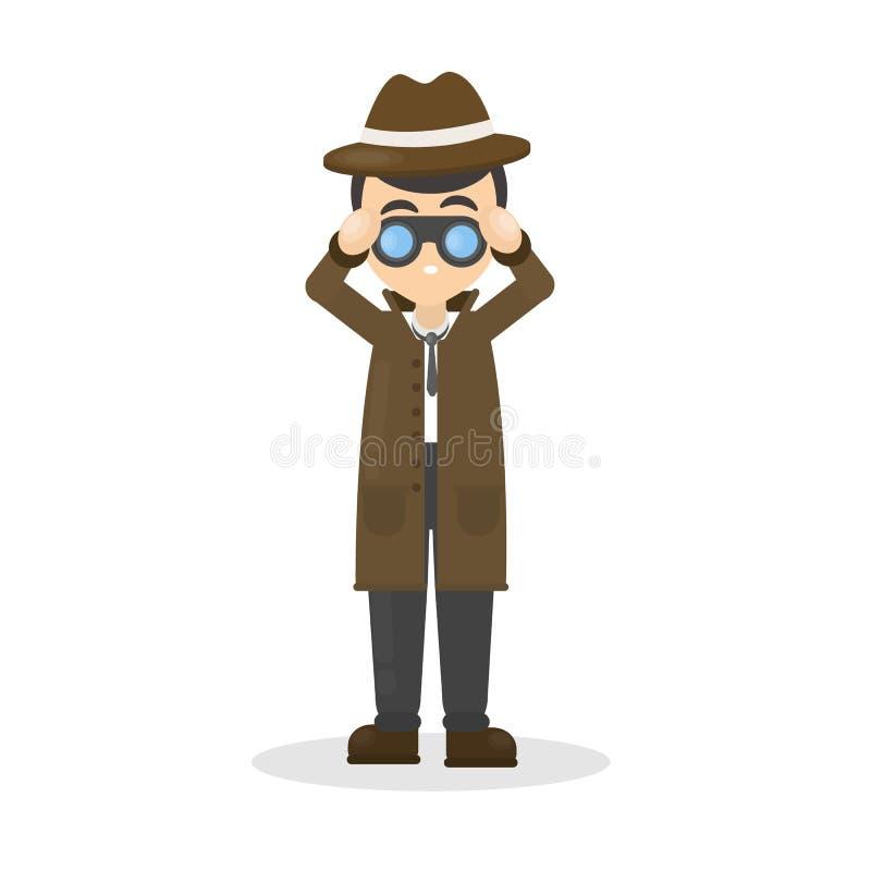 Detective with binocular. stock illustration