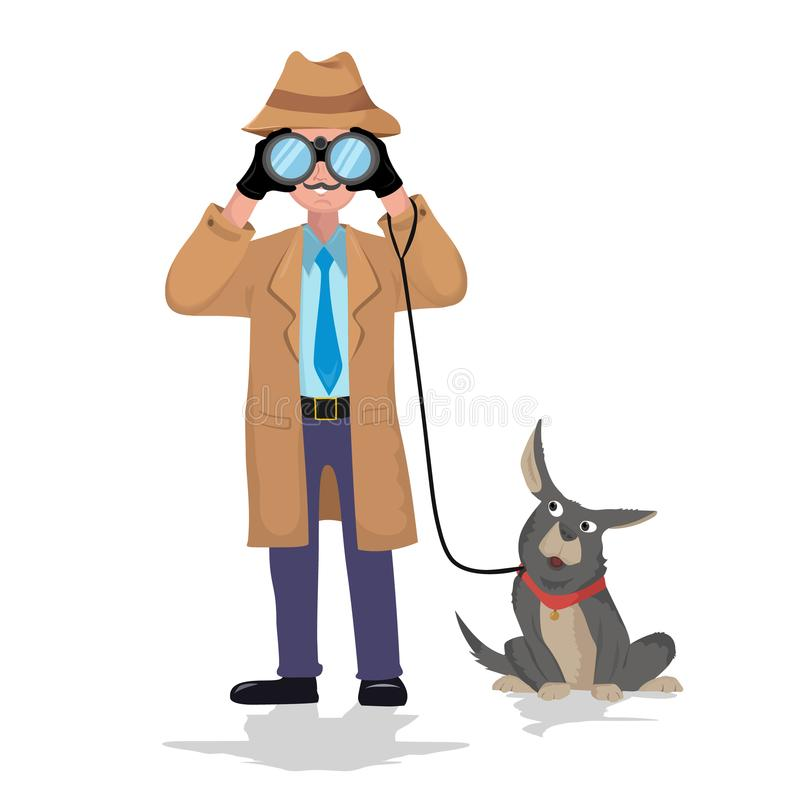 Detective with binocular and dog on white background. stock illustration