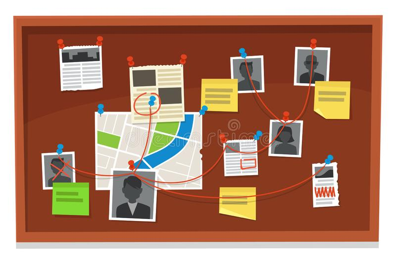 Detective board. Crime evidence connections chart, pinned newspaper and police photos. Investigation evidences vector vector illustration