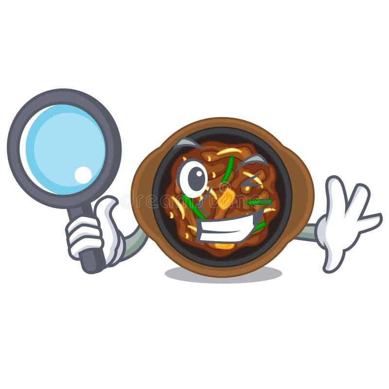 Detective bulgogi in a the bowl cartoon. Vector illustration stock illustration