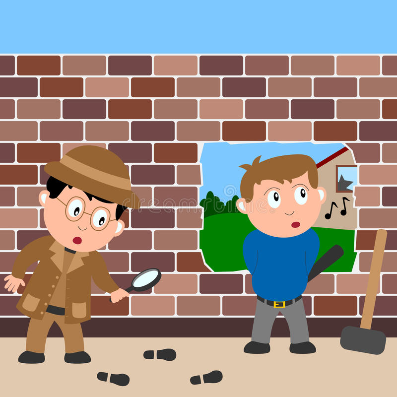 Detective and Burglar royalty free illustration
