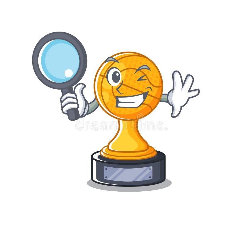 Detective cartoon basketball trophy display in drawer. Vector illustration stock illustration