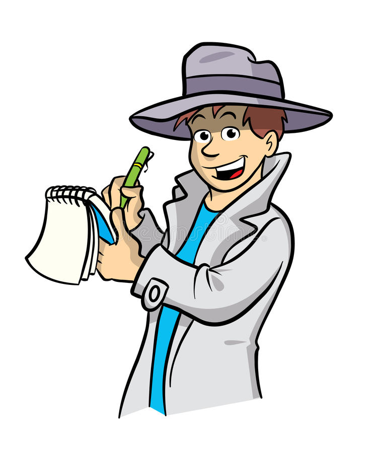 Detective cartoon illustration stock illustration
