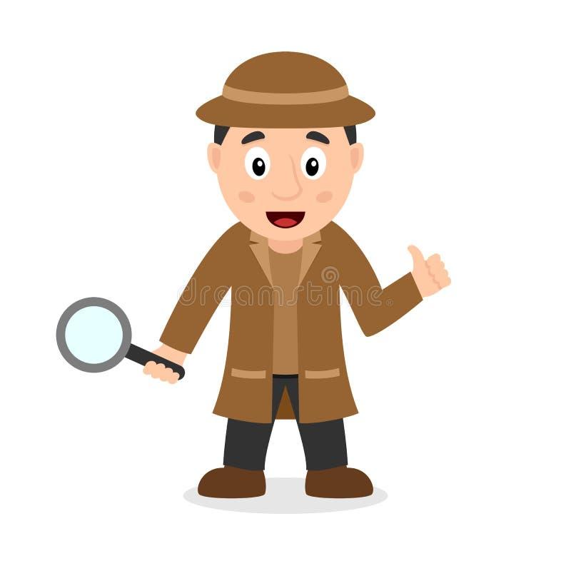 Detective Character met Vergrootglas vector illustratie