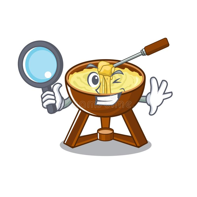 Detective cheese fondue with in mascot shape. Vector illustration vector illustration
