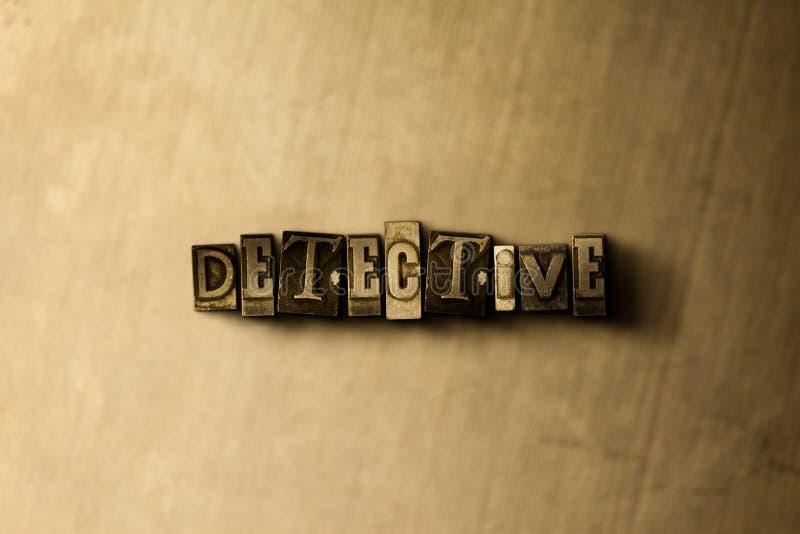 DETECTIVE - close-up van grungy wijnoogst gezet woord op metaalachtergrond stock illustratie