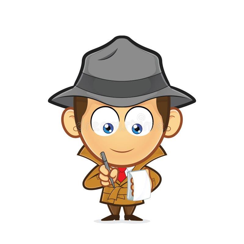 Detective con una libreta y una pluma libre illustration