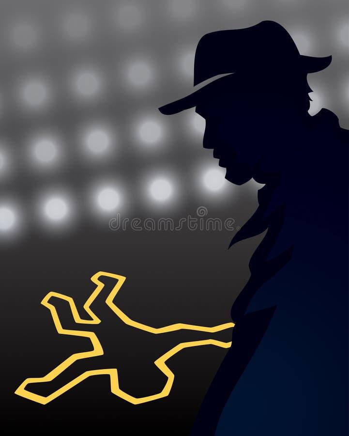 Detective Crime Scene. A detective silhouette examines a crime scene royalty free illustration