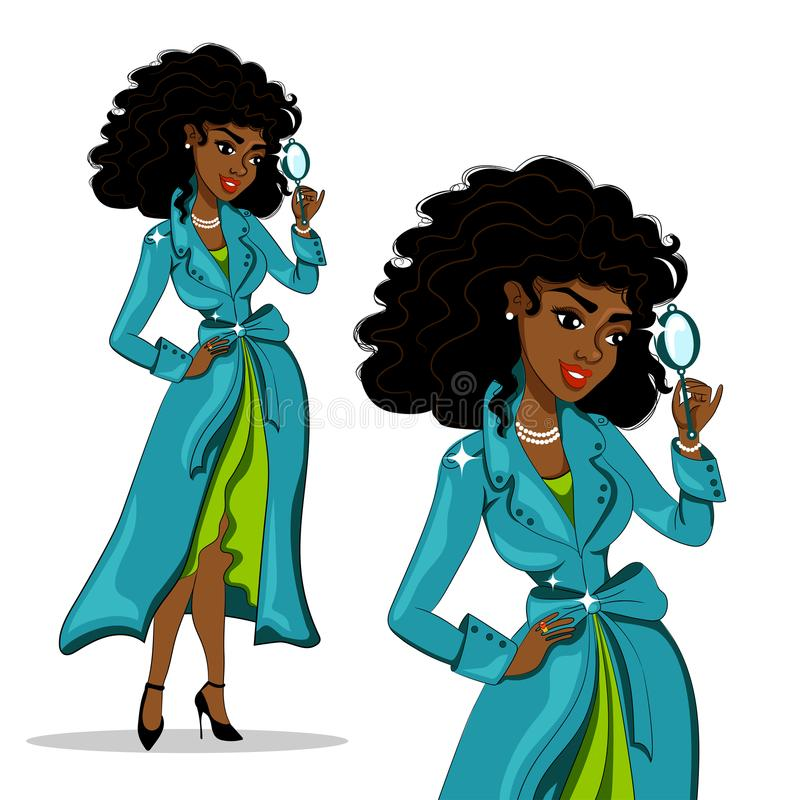 Detective de la muchacha Mujer afroamericana con el pelo rizado en una capa y un vestido atractivos ilustración del vector